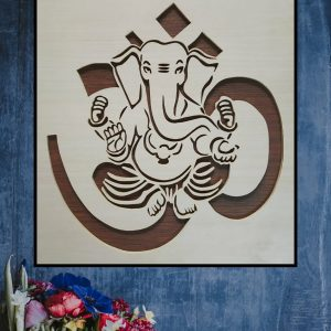 Lord Ganesha on OM wooden decal (double layered).